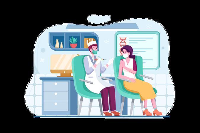 Doctor giving corona vaccination to girl Illustration