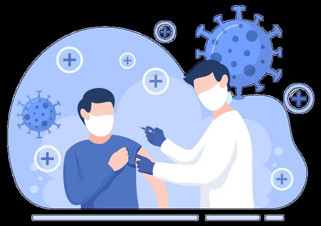 Doctor giving corona vaccine Illustration
