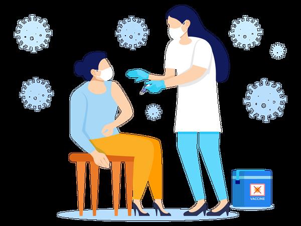 Doctor giving Corona vaccine to Woman Illustration