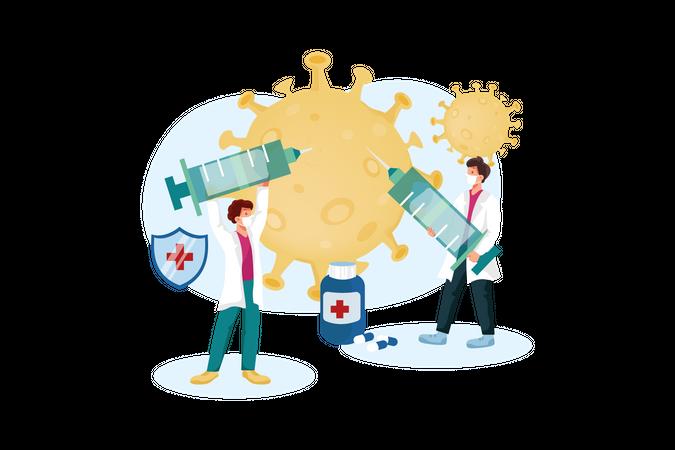 Doctor giving Coronavirus vaccine Illustration