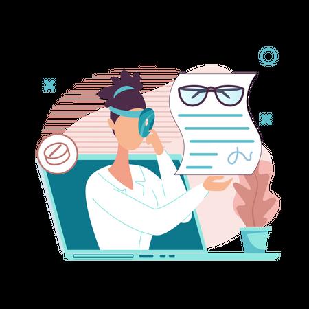 Doctor Giving Eye Report And Medicine online Illustration