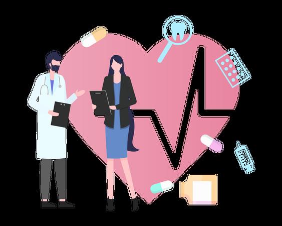 Doctor giving Health report Illustration