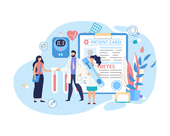 Doctor giving heart diseases cure medicine to patient from patient card Illustration