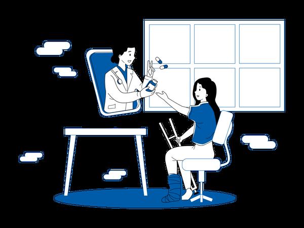 Doctor giving medical prescription on video call Illustration