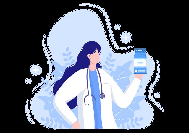 Doctor giving Medicine and Pills Illustration