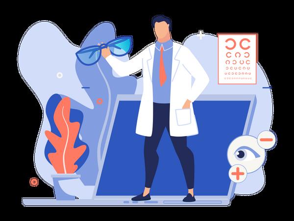 Doctor holding eyeglasses with online eyesight consultation concept Illustration