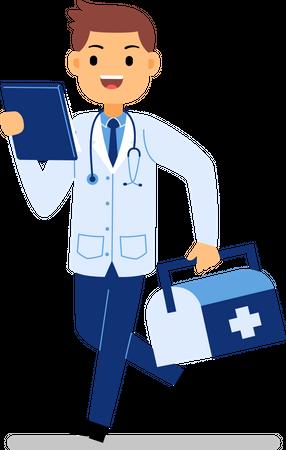 Doctor holding health kit Illustration