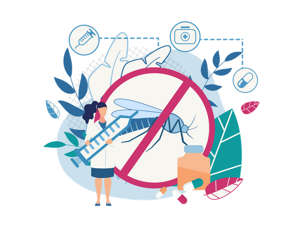 Doctor holding injection and showing Awareness of mosquito diseases with cure and stop sickness sign Illustration