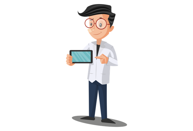 Doctor Holding Mobile phone for online Treatment Illustration