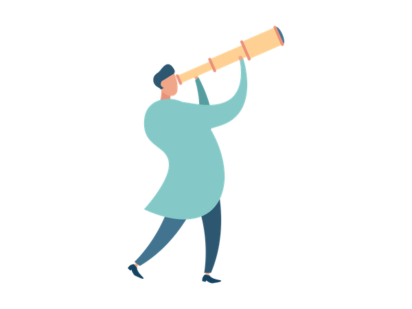 Doctor looking something with telescope Illustration