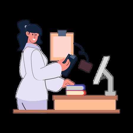 Doctor reading medical report Illustration