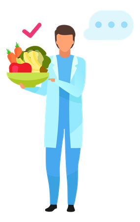 Doctor recommending fresh fruits and vegetables consumption Illustration