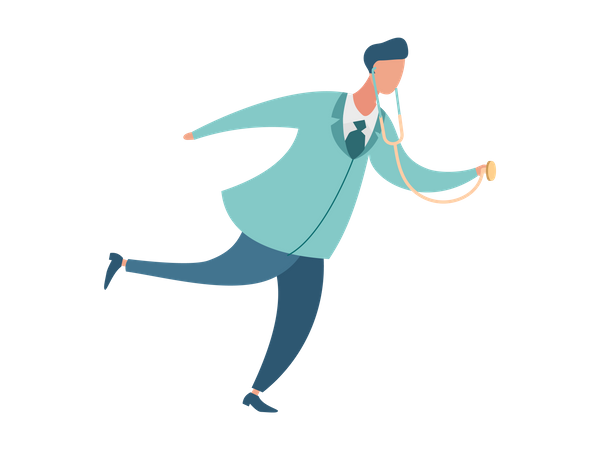 Doctor running because of emergency Illustration
