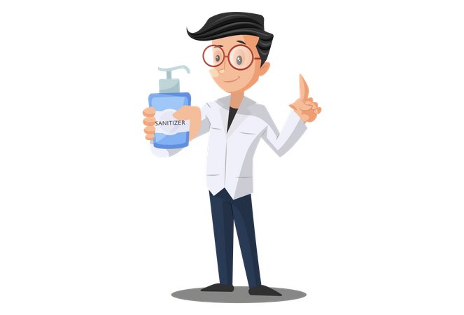 Doctor Suggesting to use Hand sanitizer Illustration