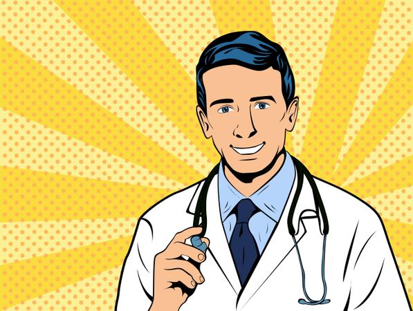 Doctor therapist medicine and health. Confident Mature Doctor Profession white coat stethoscope pop art retro style. Vector illustration. Illustration