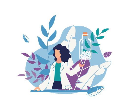 Doctor with cure pills Illustration