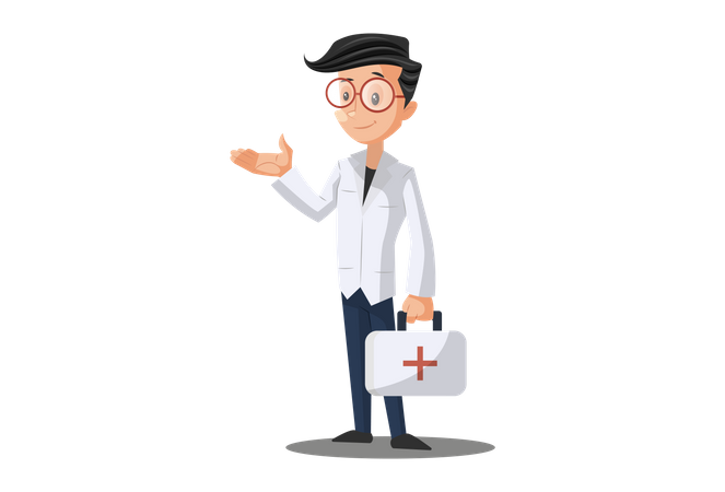 Doctor with First Aid kit Illustration