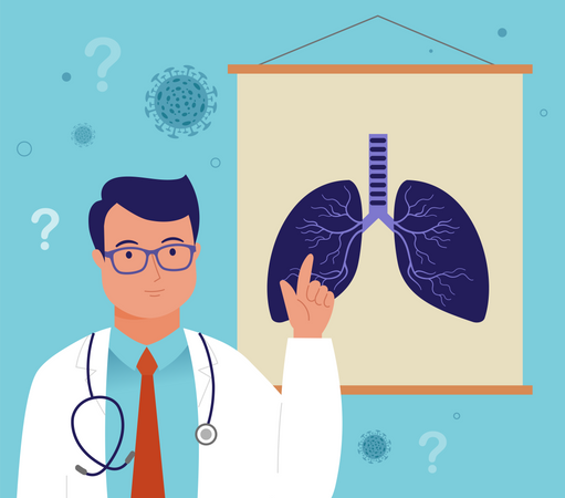 Doctor with lungs sign board Illustration