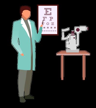 Doctor with snellen eye chart Illustration