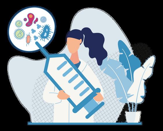 Doctor working on developing virus vaccine Illustration