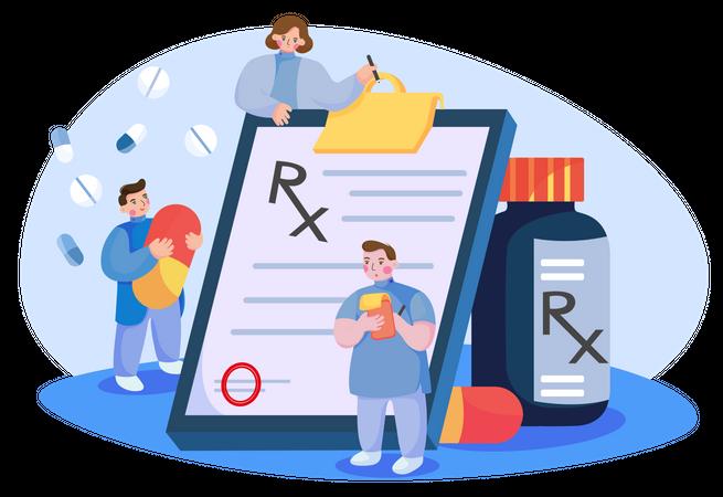 Doctor writing prescription Illustration