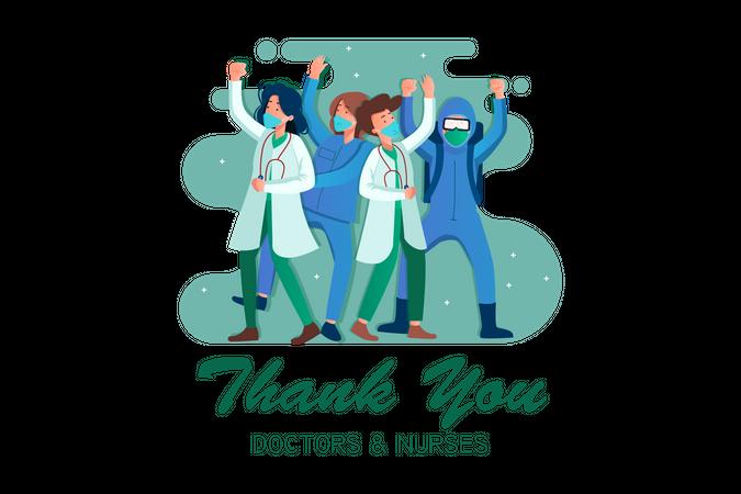 Doctors and nurses celebrating Illustration