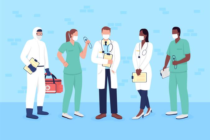 Doctors and nurses in medical masks Illustration