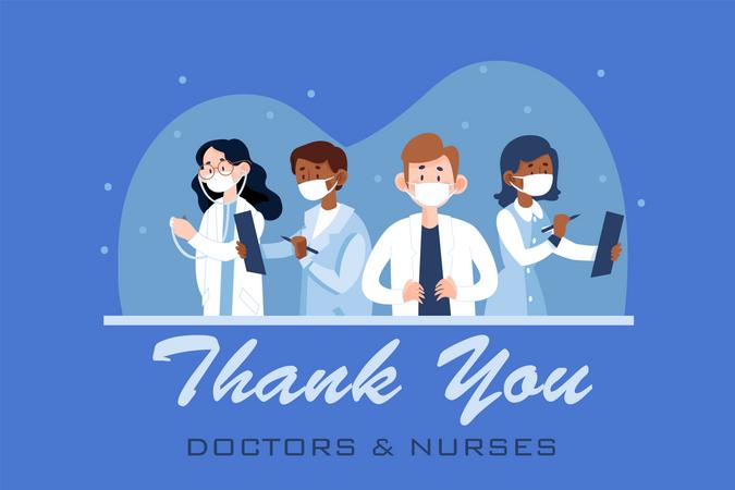 Doctors and nurses working on corona treatment Illustration