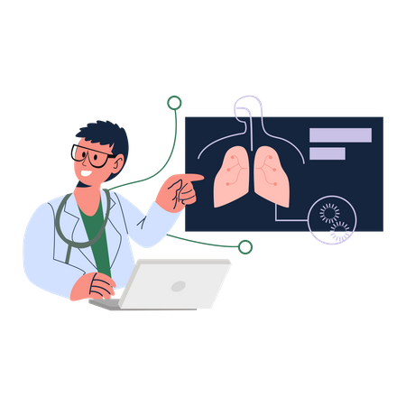 Doctors diagnosis lungs report Illustration