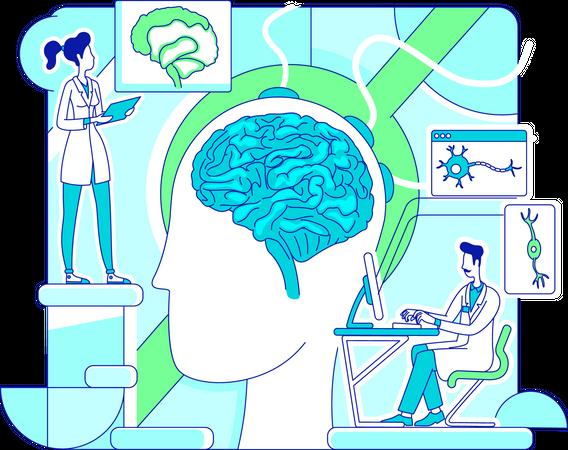 Doctors doing brain study Illustration