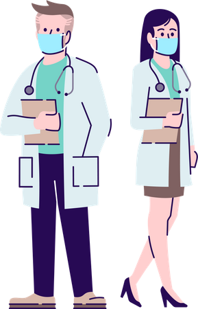 Doctors in coronavirus pandemic Illustration