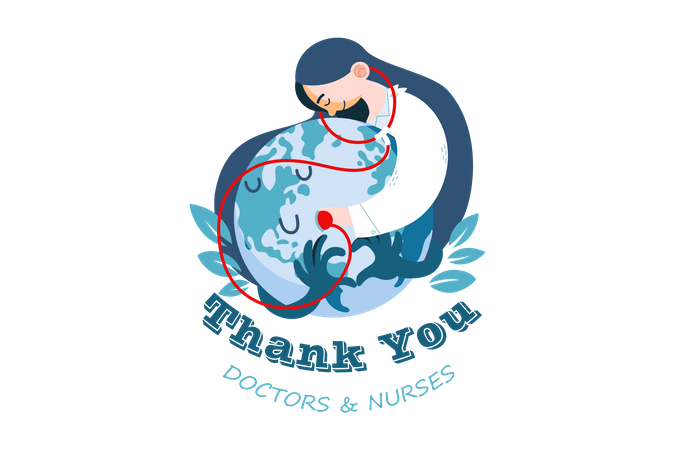 Doctors saving earth from corona Illustration