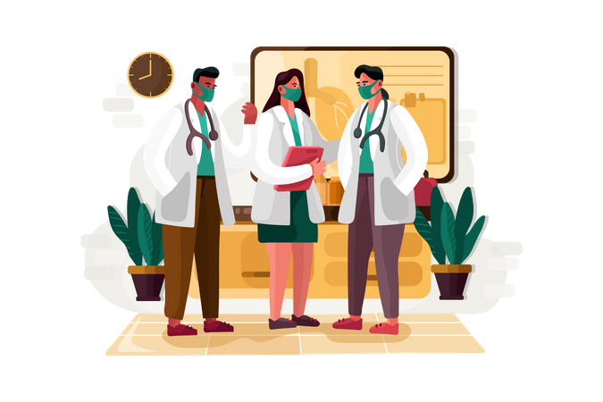 Doctors team discussion Illustration