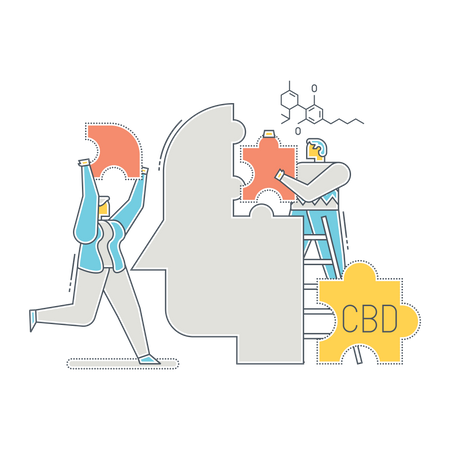 Doctors treating person using Cannabidiol Illustration