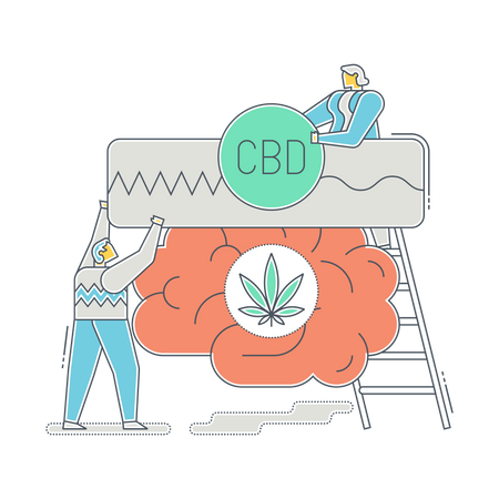 Doctors using CDB in anxiety treatment Illustration