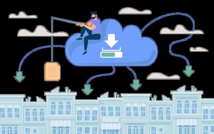 Document Storage in Cloud Illustration
