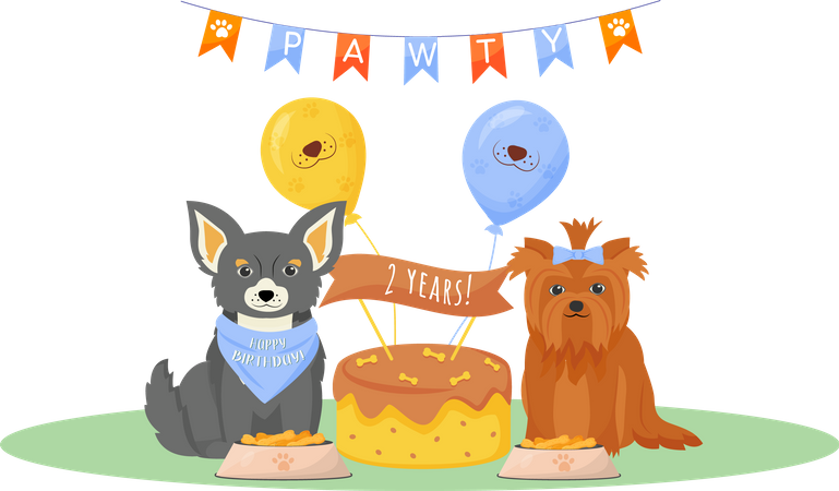 Dog birthday Illustration