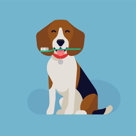 Dog dental health with happy beagle dog holding a toothbrush Illustration