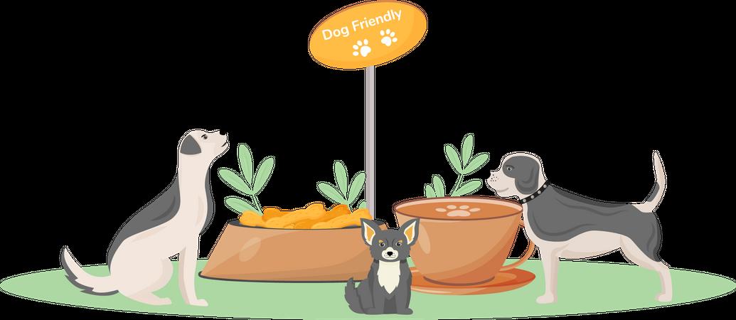 Dog friendly cafe Illustration