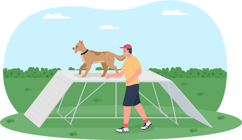 Dog training on obstacle course Illustration