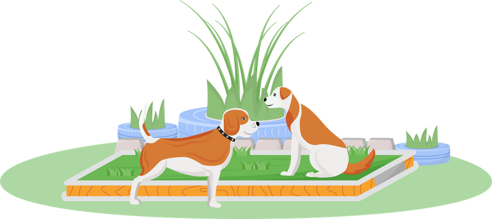 Dogs on lawn Illustration