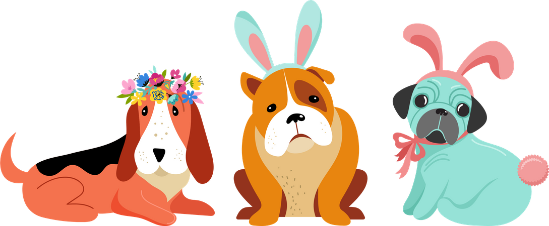 Dogs wearing bunny costumes Illustration