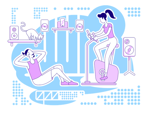 Doing workout at home Illustration