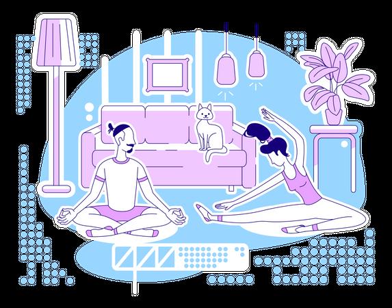 Doing yoga together Illustration