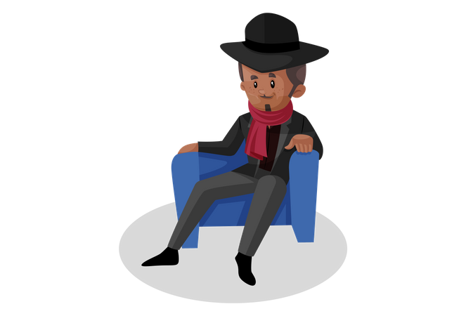 Don relaxing in chair Illustration