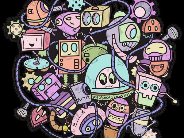 Doodle Robot Wall Art Illustration