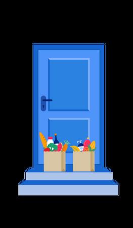 Door delivery service Illustration
