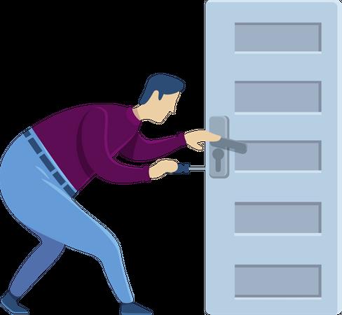 Door knob fixing Illustration