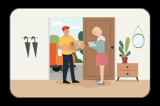 Door to door delivery Illustration