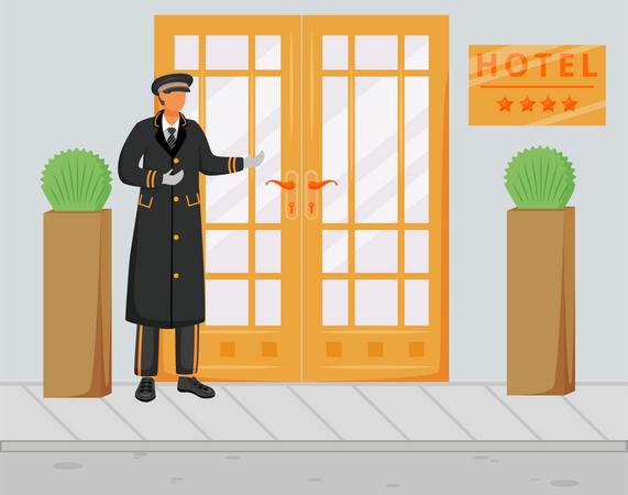 Doorman in uniform Illustration